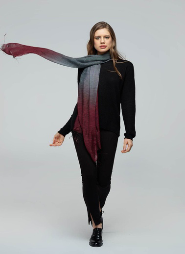 Silk and Cashmere Fular Bordo
